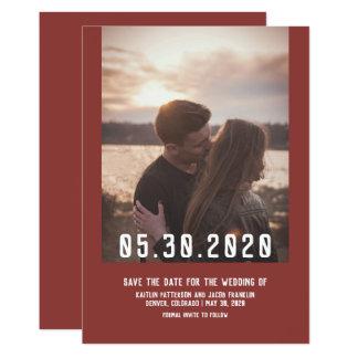 Simple Modern Photo Save the Date | Burgundy Card