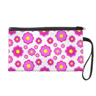 simple modern pink floral pattern wristlet clutch