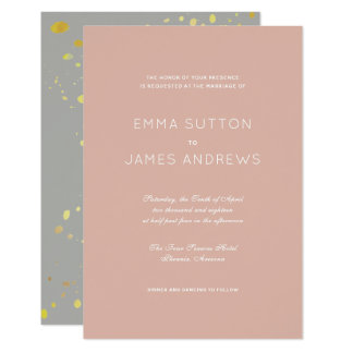 Simple Modern Pink Gray Gold Wedding Invitation