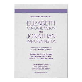 "Simple Modern Purple and Silver Gray A01B 5"" X 7"" Invitation Card"