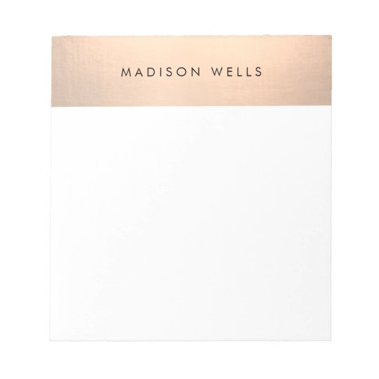 Simple Modern Rose Gold Personalised Notepad