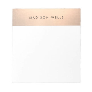 Simple Modern Rose Gold Personalized Notepad