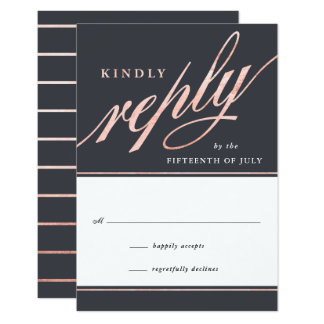 Simple Modern Rose Gold Script Reply Cards