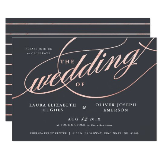Simple Modern Rose Gold Script Wedding Card