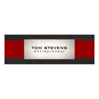 Simple Modern Silver Black Linen Red Striped Business Card Templates