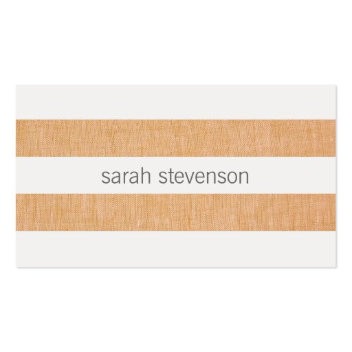 Simple Modern Striped Linen and White Minimalist Business Cards