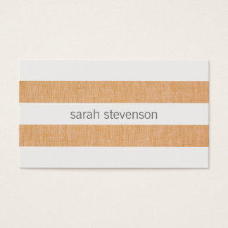 Simple Modern Striped Linen and White Minimalist Business Card