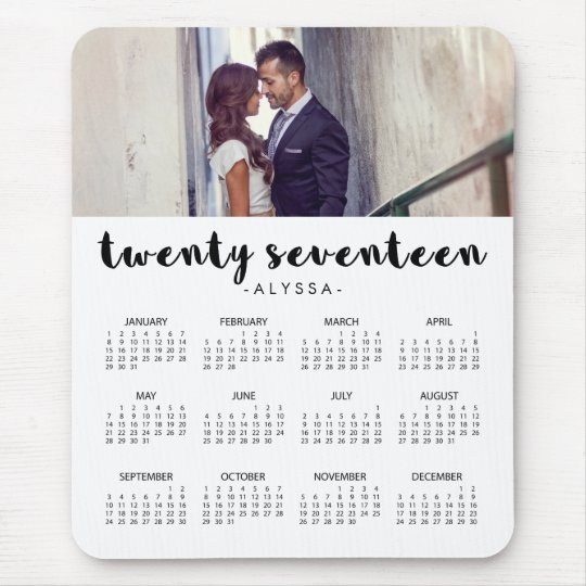 Simple Modern Typography 2017 Photo Calendar Mouse Mat