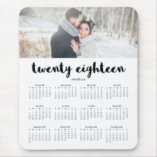 Simple Modern Typography 2018 Photo Calendar Mouse Mat