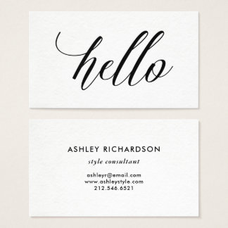 simple modern typography hello business card