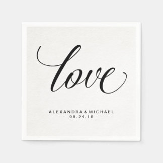 Simple Modern Typography Love on Watercolor Paper Paper Serviettes