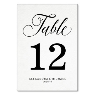 Simple Modern Typography on Watercolor Paper Table Cards