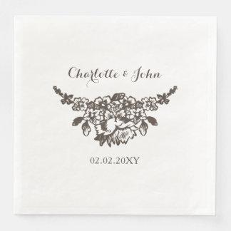 simple modern vintage wedding paper napkin