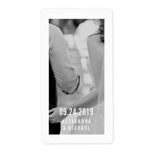 Simple Modern Wedding Wine Label with Your Photo