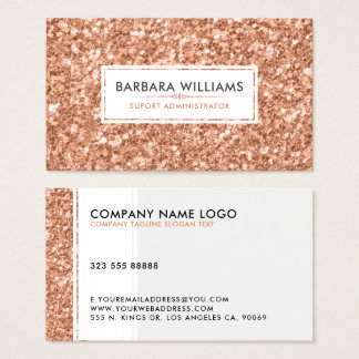 Simple Modern White & Rose-Gold Faux Glitter Business Card