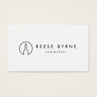 Simple Modern Wine Bottle Logo Sommelier White 2 Business Card
