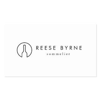 Simple Modern Wine Bottle Logo Sommelier White 2 Pack Of Standard Business Cards