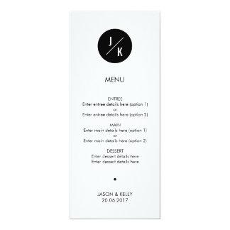 Simple monochrome circle wedding menu card