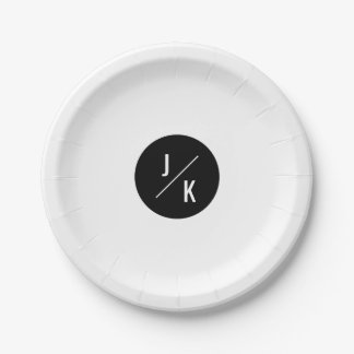 Simple monochrome circle wedding paper plate