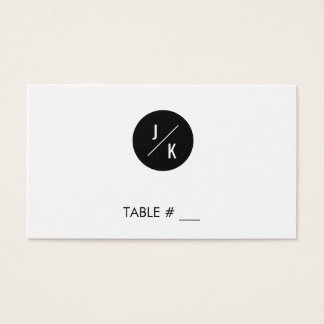 Simple monochrome circle wedding place cards