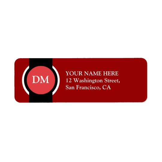 Simple Monogram Address Label