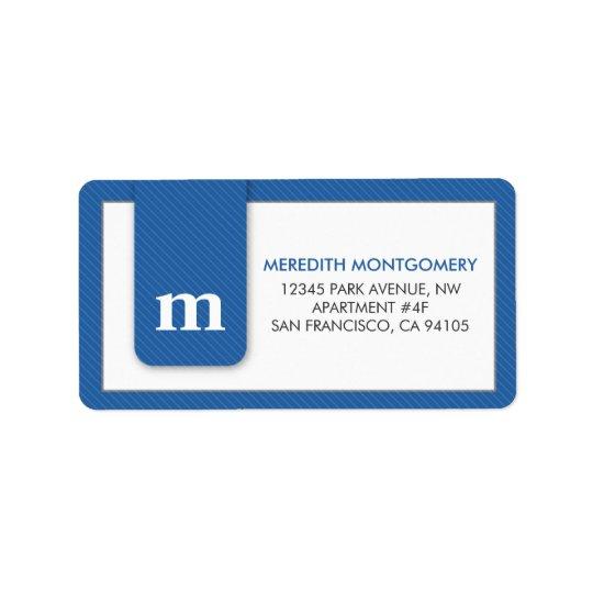 Simple Monogram Blue Designer Address Label