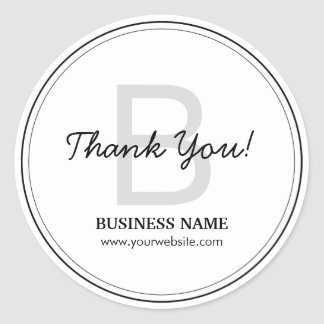 Simple Monogram Business Thank You Stickers
