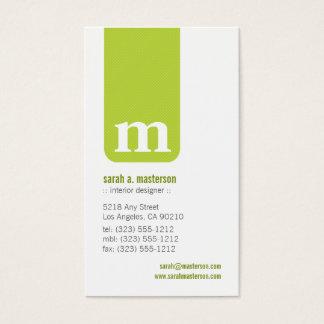 Simple Monogram Designer Business Card (lime)