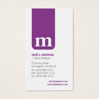 Simple Monogram Designer Business Card (purple)