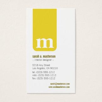 Simple Monogram Designer Business Card (yellow)