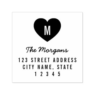 Simple Monogram Heart Family Home Address Self-inking Stamp