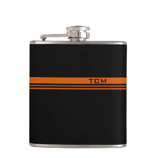 Simple Monogram in Orange and Black Hip Flask