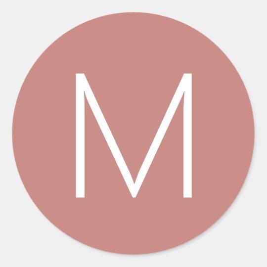 Simple Monogram Initial Rose Gold Round Sticker