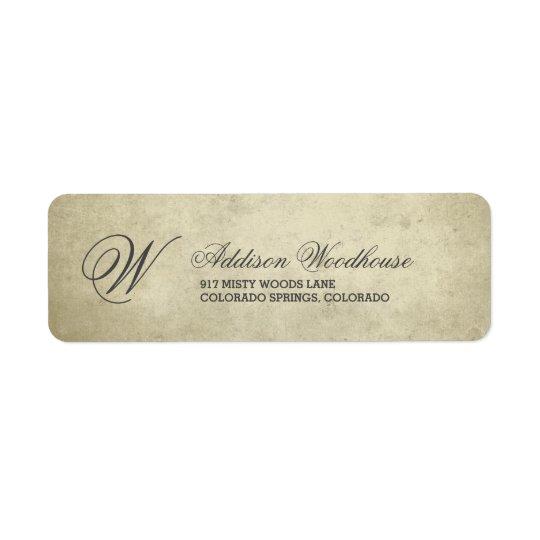 Simple Monogram   Vintage Paper Return Address Label
