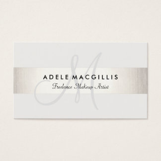 Simple Monogram White Modern FAUX Silver Striped Business Card