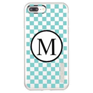 Simple Monogram with Aqua Checkerboard Incipio DualPro Shine iPhone 8 Plus/7 Plus Case