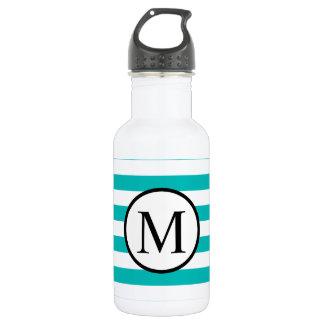 Simple Monogram with Aqua Horizontal Stripes 532 Ml Water Bottle