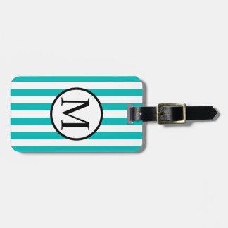 Simple Monogram with Aqua Horizontal Stripes Luggage Tag