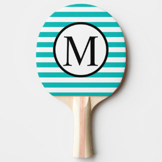 Simple Monogram with Aqua Horizontal Stripes Ping Pong Paddle