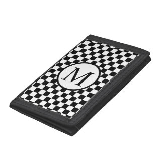 Simple Monogram with Black Checkerboard Tri-fold Wallet