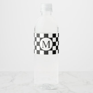Simple Monogram with Black Checkerboard Water Bottle Label