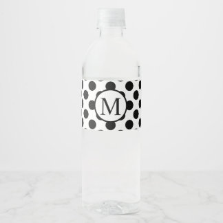 Simple Monogram with Black Polka Dots Water Bottle Label