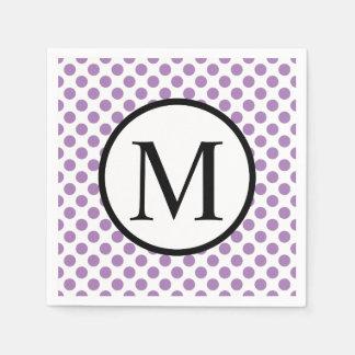 Simple Monogram with Lavender Polka Dots Disposable Serviette