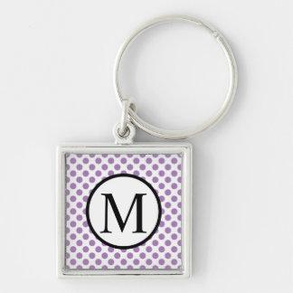 Simple Monogram with Lavender Polka Dots Key Ring