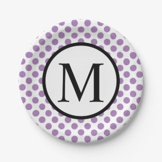 Simple Monogram with Lavender Polka Dots Paper Plate