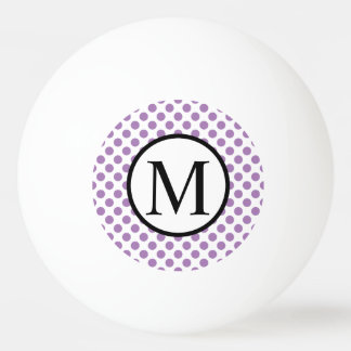 Simple Monogram with Lavender Polka Dots Ping Pong Ball