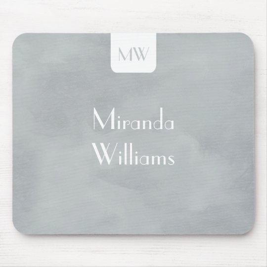 Simple Monogram With Name Modern Soft Grey Mouse Pad