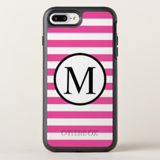Simple Monogram with Pink Horizontal Stripes OtterBox Symmetry iPhone 8 Plus/7 Plus Case