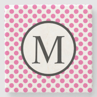 Simple Monogram with Pink Polka Dots Stone Coaster