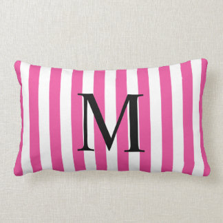 Simple Monogram with Pink Vertical Stripes Lumbar Cushion